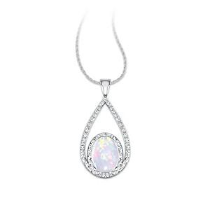 Australian Opal And Diamond Pendant In Double Loop Design