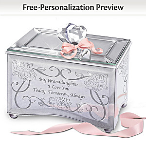 Personalized Mirrored Glass Music Box For Granddaughters