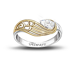 """""""Always With You"""" White Topaz Engraved Ring With Poem Card"""
