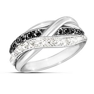 """In Harmony"" Black And White Diamond Ring"