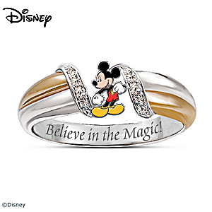 """""""The Magic Of Mickey Mouse"""" Diamonesk Embrace Ring"""