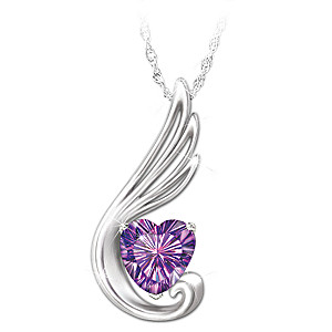 """""""Touch Of An Angel"""" Granddaughter Amethyst Pendant Necklace"""