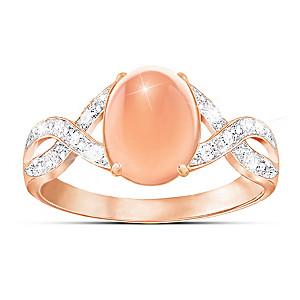 """Sweet Sorbet"" Diamond And Peach Moonstone Ring"