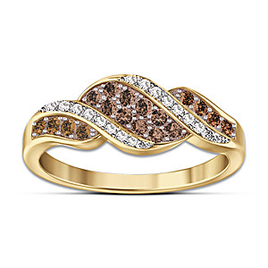 """""""Sweet Decadence"""" Mocha-Colored And White Diamond Ring"""
