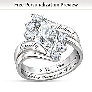 """""""Love Completes Us"""" Personalized White Topaz Stacking Ring"""