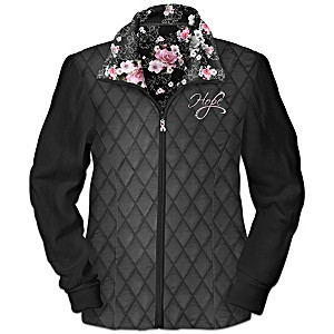 """Breast Cancer Awareness """"Blossoms Of Hope"""" Quilted Jacket"""