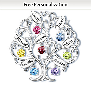 """Family Of Love """"Family Tree"""" Birthstone Name-Engraved Brooch"""