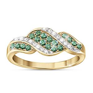 """Rare Elegance"" Green And White Diamond Ring"