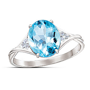 """""""True Blue"""" 3-Carat Blue And White Topaz Ring"""