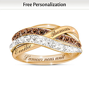 """""""Together In Love"""" Mocha And White Diamond Ring With 2 Names"""