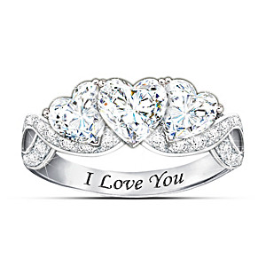 """I Love You """"With All My Heart"""" Engraved White Topaz Ring"""