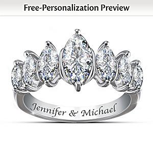 """Endless"" White Topaz Name-Engraved Eternity Ring"