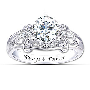 """""""Happily Ever After"""" White Topaz Engraved Ring"""