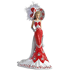 Lady Red Figurine With Swarovski Crystals And Real Feather