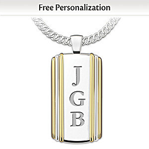 """""""Always My Son"""" Initials-Engraved Dog Tag Pendant Necklace"""