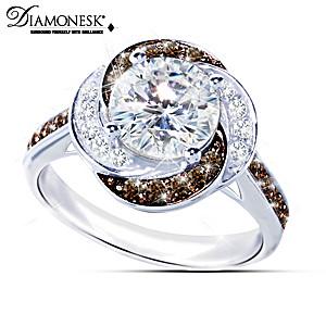 """White Russian"" Mocha And White Diamonesk Women's Ring"