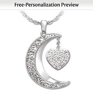 I Love My Family Diamond Pendant Necklace With Up To 6 Names