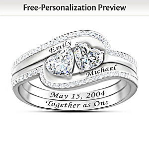 """Personalized """"Together As One"""" White Topaz Ring"""