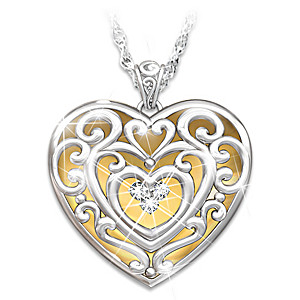 """""""Glowing With Beauty"""" Engraved Diamond Pendant For Daughters"""