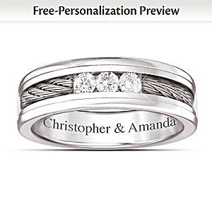"""""""The Strength Of Our Love"""" Personalized Men's Diamond Ring"""