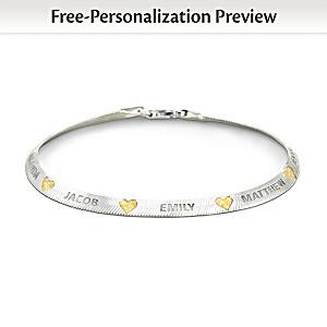 """""""Family Blessings"""" Name-Engraved Herringbone-Style Bracelet"""