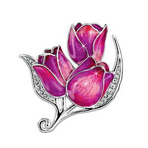 """Blossoms Of Generosity"" Rhodium-Plated Tulip Brooch"