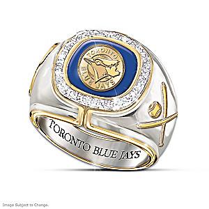 Toronto Blue Jays Engraved Diamond Commemorative Ring
