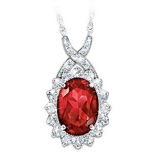 """Canadian Elegance"" Diamonesk Simulated Ruby Necklace"