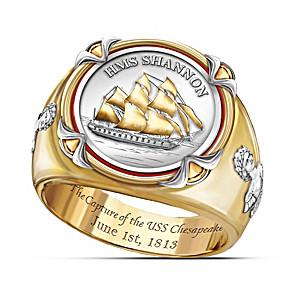 """""""HMS Shannon"""" Commemorative Men's Ring With Replica Coin"""