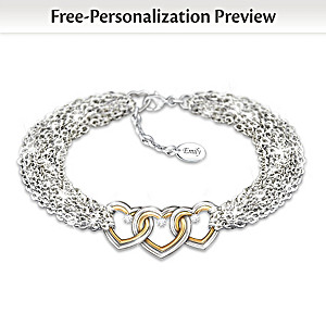 Personalized Diamond Heart Chain Bracelet For Daughters