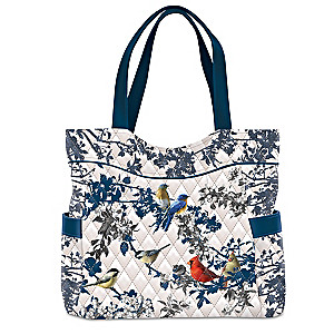 """James Hautman """"Songs Of Spring"""" Bird Art Quilted Tote Bag"""