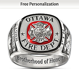 """""""Brotherhood Of Honour"""" Customized Firefighters Tribute Ring"""