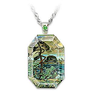 "Arthur Lismer ""September Gale"" Art Crystal Pendant Necklace"