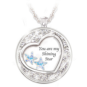 """""""My Shining Star"""" Granddaughter Pendant With 2 Crystal Stars"""