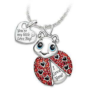 """""""Granddaughter, You're Cute As A Bug"""" Crystal Necklace"""
