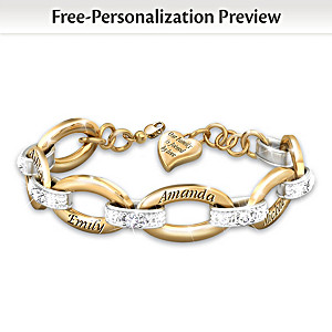 """""""Joined By Love"""" Diamond Bracelet With Up To 6 Names"""