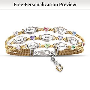 Strength Of Family Name-Engraved Crystal Birthstone Bracelet