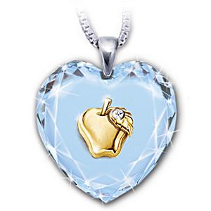 """Heart Of A Teacher"" Crystal Pendant With A Golden Apple"