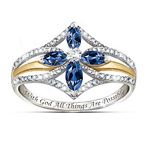 """""""The Promise Of Faith"""" Sapphire And White Topaz Cross Ring"""