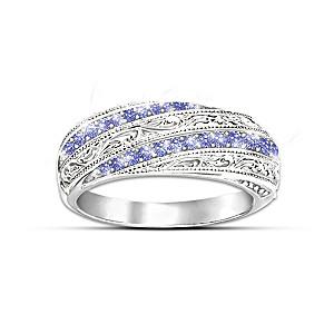 """""""Tanzanite Elegance"""" Ring With 20 Tanzanite Gemstones"""