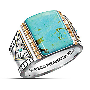 """""""Power Of The West"""" Turquoise Cabochon Thunderbird Ring"""