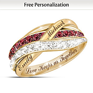 """""""Together In Love"""" Red And White Diamond Ring With 2 Names"""