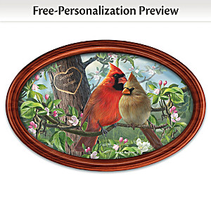 """James Hautman """"Love Birds"""" Framed Plate With Your Two Names"""