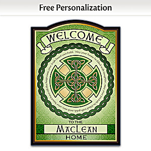 Blessings Of Ireland Welcome Sign Personalized With Name