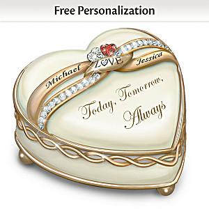 """Soul Mates"" Romantic Porcelain Heart Music Box With 2 Names"
