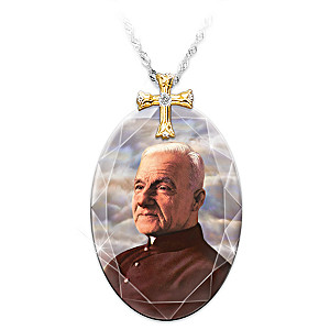 """""""St. Brother André"""" Crystal Pendant Necklace"""