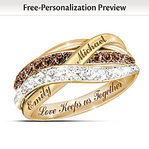 18K Gold-Plated Mocha & White Diamond Ring With 2 Names