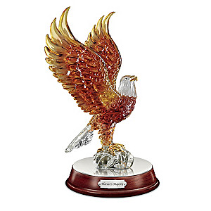 """Nature's Majesty"" Illuminated Art Glass Eagle Sculpture"
