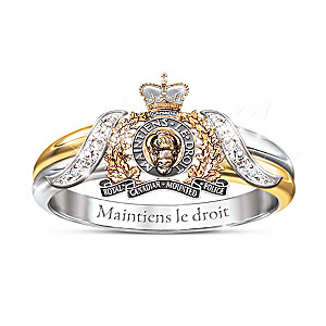 RCMP Diamond Embrace Ring With Sculpted Emblem