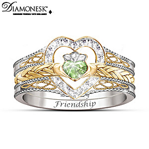 """Heart Of Ireland"" Diamonesk Claddagh Stacking Ring"
